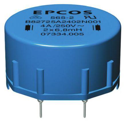 EPCOS - B82725A2402N001 - EPCOS B82721A 系列 6.8 mH ±30% 铁氧体 B82725A2402N001 电流补偿扼流圈, 4A Idc, 80mΩ Rdc