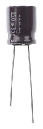 Nichicon - UPS1V221MPD - Nichicon PS 系列 35 V 直流 220μF 通孔 铝电解电容器 UPS1V221MPD, ±20%容差, 最高+105°C