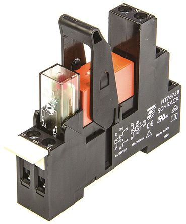 TE Connectivity - RT4S4R24 2-1415073-1 - TE Connectivity RT4S4R24 2-1415073-1 双刀双掷 DIN导轨 接口继电器模块, 8A, 24V ac
