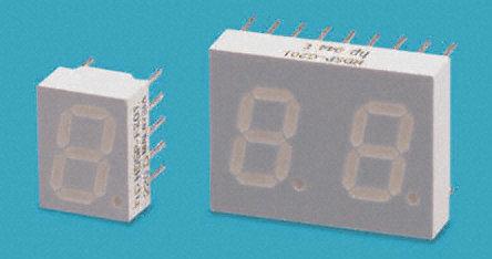 Broadcom - HDSP-F153 - Broadcom 1字符 7段 共阴 红色 LED 数码管 HDSP-F153, 15 mcd, 右侧小数点, 10.16mm高字符, 通孔安装