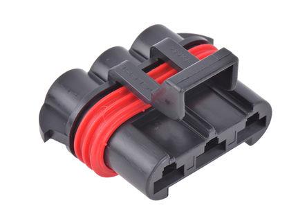 Delphi - 12124685 - Delphi Metri-Pack 630 系列 3路 电缆安装 黑色 母 连接器 12124685, 压接端接