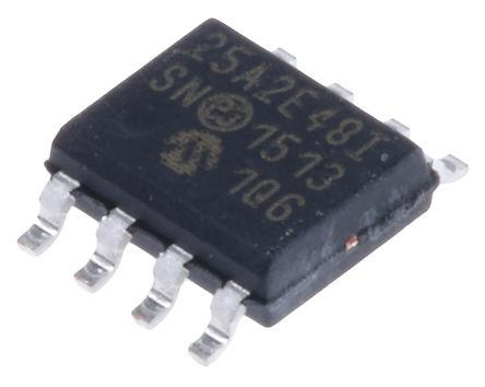 Microchip - 25AA02E48-I/SN - Microchip 25AA02E48-I/SN 串行 EEPROM 存�ζ�, 2kbit, SPI接口, 50ns, 1.8 → 5.5 V, 8引�_ SOIC封�b