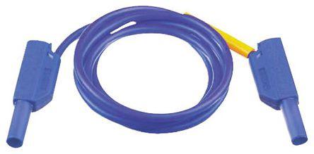 Multi Contact - 28.0124-100-23 - Multi Contact 28.0124-100-23 蓝色 测试引线, 32A额定电流, 1 kV, 600 V, 公至公, 1m长