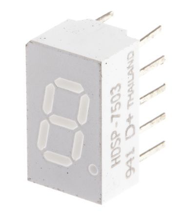 Broadcom - HDSP-7503-CD000 - Broadcom 1字符 7段 共阴 红色 LED 数码管 HDSP-7503-CD000, 5.4 mcd, 右侧小数点, 7.6mm高字符, 通孔安装
