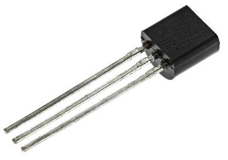 Fairchild Semiconductor - BC547CBU - Fairchild Semiconductor BC547CBU , NPN 晶体管, 100 mA, Vce=45 V, HFE:110, 1 MHz, 3引脚 TO-92封装
