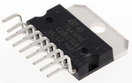 STMicroelectronics - TDA7295 - STMicroelectronics TDA7295 AB 类 单声道 扬声器放大器, +70 °C, 80 W @ 8 Ω最大功率, 15引脚 MULTIWATT V封装