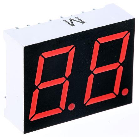 ROHM - LB-602VK2 - ROHM 2字符 7段 共阴 红色 LED 数码管 LB-602VK2, 16 mcd, 右侧小数点, 14.2mm高字符, 通孔安装