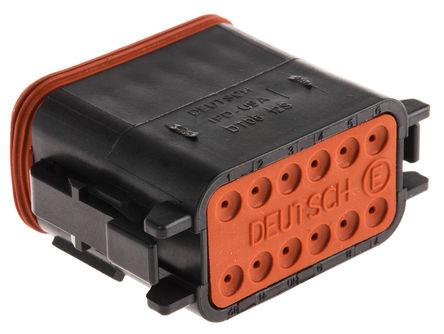 Deutsch - DT0612SA-CE10 - Deutsch DT 系列 12路 黑色 公 连接器 DT0612SA-CE10
