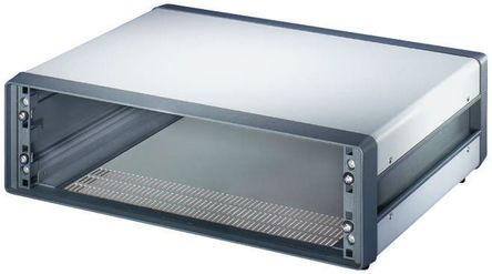 Schroff - 10225601 - Schroff Comptec 系列 灰色/白色 铝/钢 3U 通风 机架式机箱 10225601, 153 x 520 x 300mm