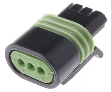 Delphi - 12162182 - Delphi Metri-Pack 150.2 Pull-To-Seat 系列 3路 电缆安装 黑色 母 连接器 12162182, 压接端接