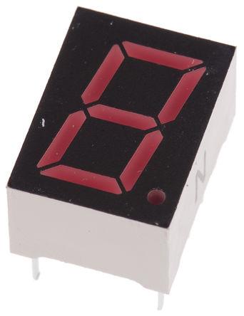 ROHM - LA-401VN - ROHM 1字符 7段 共阴 红色 LED 数码管 LA-401VN, 16 mcd, 右侧小数点, 10.16mm高字符, 通孔安装