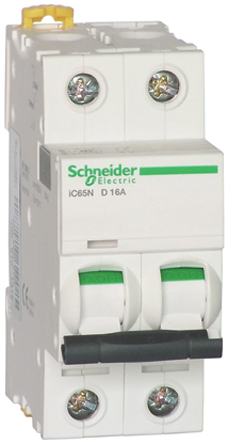 Schneider Electric - A9F17216 - Schneider Electric Acti 9 iC65N 系列 2极 16 A MCB A9F17216, 36 kA 断开能力, B型 跳闸特性