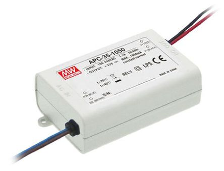 Mean Well - APC-35-350 - Mean Well LED 驱动器 APC-35-350, 127 → 370 V 直流,90 → 264 V 交流输入, 28 → 100V输出, 350mA输出, 35W