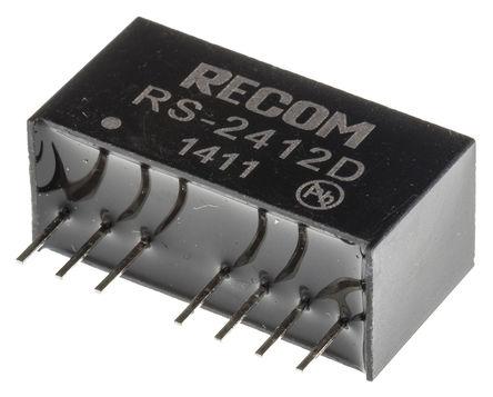 Recom - RS-2412D - Recom RS 系列 2W 隔�x式直流-直流�D�Q器 RS-2412D, 18 → 36 V 直流�入, ±12V dc�出, ±83mA�出, 500V ac隔�x���, 83%效能, SIP封�b