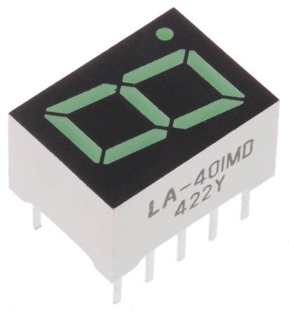 ROHM - LA-401MD - ROHM 1字符 7段 共阳 绿色 LED 数码管 LA-401MD, 16 mcd, 右侧小数点, 10.2mm高字符, 通孔安装