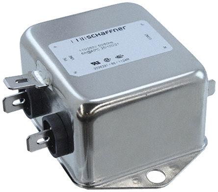 Schaffner - FN612-6-06 - Schaffner FN612 系列 6A 250 V 交流, 400Hz 底盘安装 EMI 滤波器 FN612-6-06, 带安装片接端