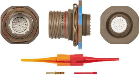 ITT - KJB7T13W35PN - ITT KJB 系列 22路 面板安�b �B接器 螺�y 插座 KJB7T13W35PN, 公�|芯, 外�こ叽�13, MIL-DTL-38999