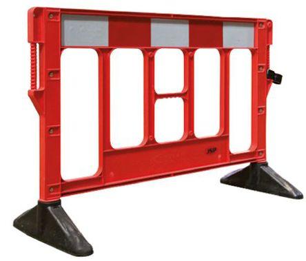 JSP - KBA053-000-651 - JSP 红色/白色 交通围栏 PP 围栏和栏柱 KBA053-000-651, 1.5m深 x 1.2m高 x 1.005m宽