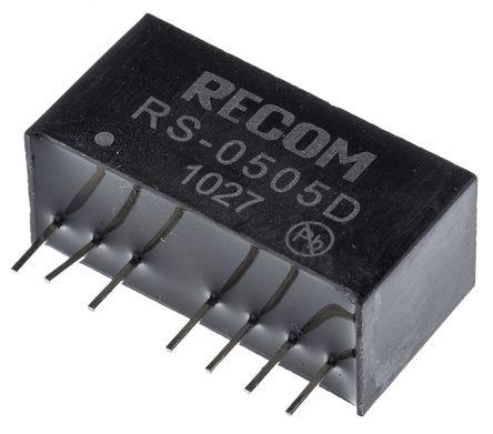 Recom - RS-0505D - Recom RS 系列 2W 隔�x式直流-直流�D�Q器 RS-0505D, 4.5 → 9 V 直流�入, ±5V dc�出, ±200mA�出, 500V ac隔�x���, SIP封�b