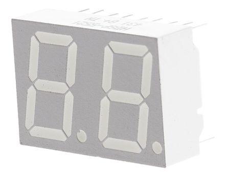 Broadcom - HDSP-5521 - Broadcom 2字符 7段 共阳 红色 LED 数码管 HDSP-5521, 3.7 mcd, 右侧小数点, 14.22mm高字符, 通孔安装