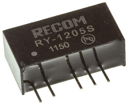 Recom - RY-1205S - Recom RY 系列 1W 隔�x式直流-直流�D�Q器 RY-1205S, 11.4 → 12.6 V 直流�入, 5V dc�出, 200mA�出, 1kV dc隔�x���, 60%效能, SIP封�b