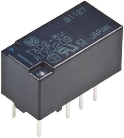 Panasonic - TXD2L5 - Panasonic TXD2L5 双刀双掷 PCB 安装 自锁继电器, 2 A, 5V dc, 适用于汽车应用