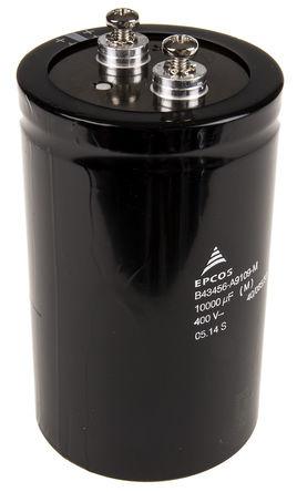 EPCOS - B43456A9109M - EPCOS B43456 系列 400 V 直流 10000μF 铝电解电容器 B43456A9109M, ±20%容差, 16mΩ(等值串联), 最高+85°C