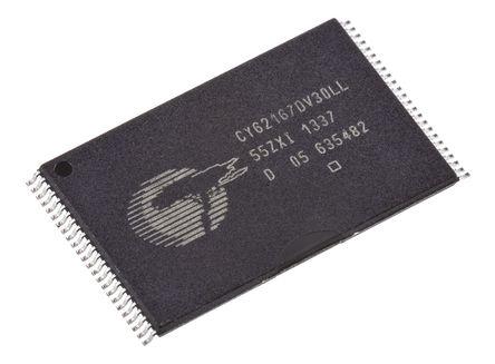 Cypress Semiconductor - CY62167DV30LL-55ZXI - Cypress Semiconductor CY62167DV30LL-55ZXI, 16Mbit SRAM �却�, 1M ��字 x 16 位, 2.2 → 3.6 V, 48� TSOP封�b