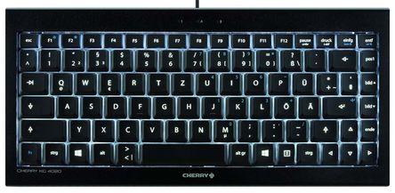 Cherry - JK-0720DE - Cherry 黑色 USB 有� 工�I用 �o��型 QWERTZ 背光�I�P JK-0720DE