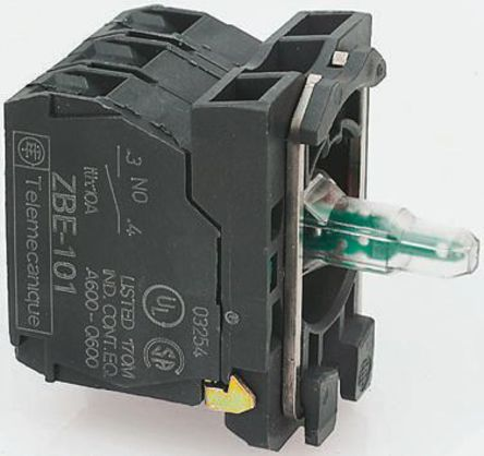 Schneider Electric - ZB5AW0B35 - Schneider Electric XB5 系列 接触块和照明块 ZB5AW0B35, 1 常开,1 常闭, 24 V 交流/直流, 绿色 LED, 螺钉接端