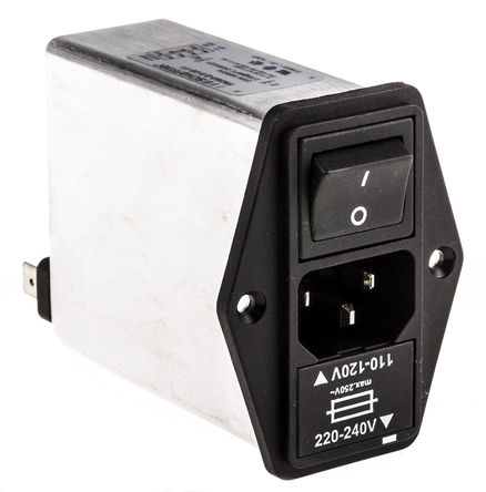 Schaffner - FN393-2.5-05-11 - Schaffner 面板安装 C14 IEC 滤波 插头 FN393-2.5-05-11, 5 x 20mm熔断器, Faston端接, 额定2.5A, 250 V 交流