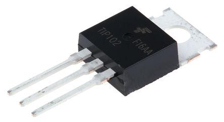 Fairchild Semiconductor - TIP102TU - Fairchild Semiconductor TIP102TU NPN 达林顿晶体管对, 15 A, Vce=100 V, HFE=200, 3引脚 TO-220封装