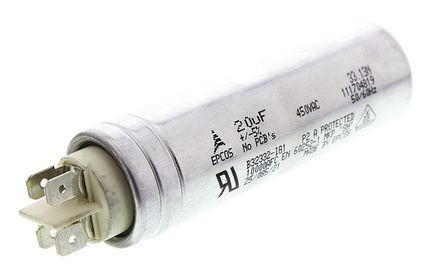 EPCOS - B32332I6206J081 - EPCOS B32332 系列 20μF 聚丙烯电容器 (PP) B32332I6206J081, ±5%, 450V 交流, 螺柱安装