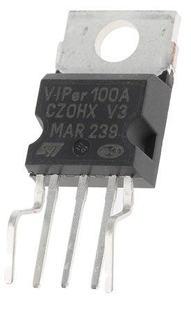 STMicroelectronics - VIPER100A-E - STMicroelectronics VIPER100A-E PWM 电流模式控制器, 3 A输出, 110 kHz, 0 → 15 V电源, 5引脚 PENTAWATT封装
