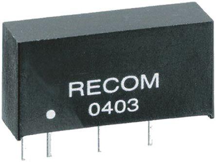 Recom - RE-1512S - Recom RE 系列 1W 隔离式直流-直流转换器 RE-1512S, 12V dc输出, 83mA输出, 1kV dc隔离电压, 80 → 84%效能, SIP封装