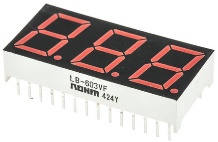 ROHM - LB-603VF - ROHM 3字符 7段 共阳 红色 LED 数码管 LB-603VF, 16 mcd, 右侧小数点, 14.2mm高字符, 通孔安装