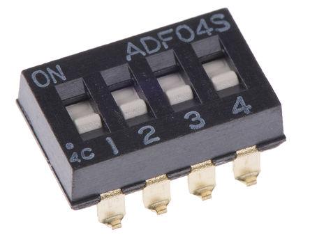TE Connectivity - ADF04S04 - TE Connectivity ADF04S04 4位置 滑动 表面安装 DIP 开关, 4P, 100 mA@ 24 V 直流