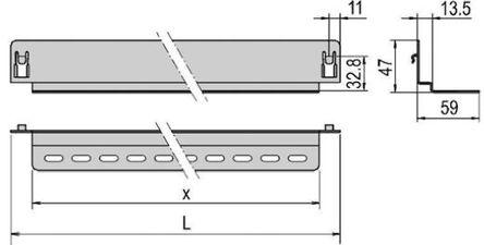 Schroff - 20230869 - Schroff 钢 滑轨 20230869, 673 x 59 x 47mm, 使用于19 英寸机柜