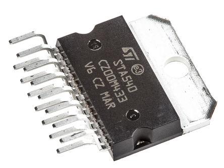 STMicroelectronics - STA540 - STMicroelectronics STA540 AB 类 1 通道单声道/2 通道立体声 扬声器放大器, +70 °C, 34 W @ 8 Ω, 38 W @ 4 Ω最大功率, 15引脚 MULTIWATT V封装