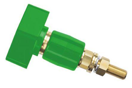 Schutzinger - POL 201 / GN - Schutzinger 4mm 绿色 绝缘 黄铜 接线柱 POL 201 / GN, 1kV, 200A额定电流, M12 x 1 螺纹