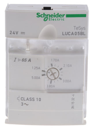 Schneider Electric - LUCB05BL - Schneider Electric TeSys U-Line 系列 1.5 kW 控制模块, 24 V 直流, 1.25 → 5 A