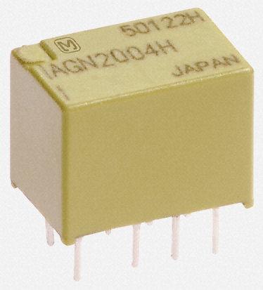 Panasonic - AGN2104H - Panasonic AGN2104H 双刀双掷 PCB 安装 自锁继电器, 1 A, 4.5V dc, 适用于电源应用