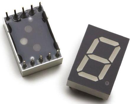 Broadcom - HDSP-C5A1 - Broadcom 1字符 7段 共阳 红色 LED 数码管 HDSP-C5A1, 16 mcd, 右侧小数点, 13.1mm高字符, 通孔安装