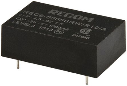 Recom - REC6-0505SRW/R10/A - Recom REC6 系列 6W 隔离式直流-直流转换器 REC6-0505SRW/R10/A, 4.5 → 9 V 直流输入, 5V dc输出, 1A输出, 10kV dc隔离电压, 77%效能, DIP封装