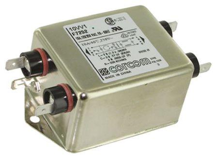 TE Connectivity - 10VV1 - TE Connectivity 10VV1 电源线过滤, 10 A, 250 V 交流, 98 x 52.8 x 38.9 mm
