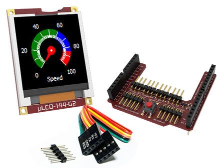 4D Systems - uLCD-144G2-AR - 4D Systems Goldelox 系列 1.44in TFT �@示屏, 128 x 128pixels 分辨率, LED背光 UART 接口