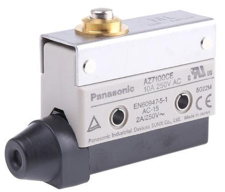 Panasonic - AZ7100CEJ - Panasonic IP64 限位开关 AZ7100CEJ, 柱塞, SPDT, 常开/常闭, 250V