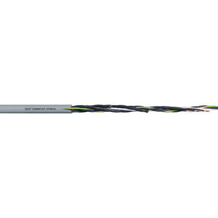 Igus - CF130.10.02.UL - Igus 2 芯, 17 AWG 灰色 聚氯乙烯 PVC护套 执行器/传感器电缆 CF130.10.02.UL, 6mm 外径