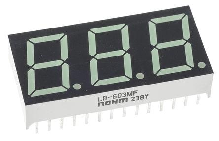 ROHM - LB-603MF - ROHM 3字符 7段 共阳 绿色 LED 数码管 LB-603MF, 25 mcd, 右侧小数点, 14.2mm高字符, 通孔安装