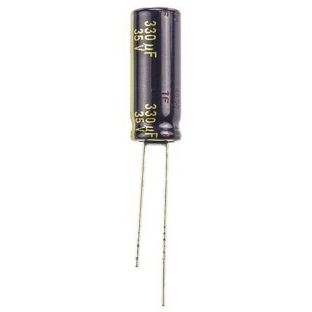 Panasonic - EEUFC1V331L - Panasonic FC 径向 系列 35 V 直流 330μF 通孔 铝电解电容器 EEUFC1V331L, ±20%容差, 65mΩ(等值串联), 最高+105°C